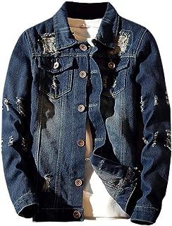 Mens Denim Jacket Big, Mens Autumn Casual Vintage Wash Distressed Ripped Jeans Top