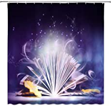 Fantasy Shower Curtain Imaginary Dreamy Magical Magic Book Make Things Happen Bathroom Accessories Polyester with 12 Hooks,71 X 71 Inchs,Yellow Purple White