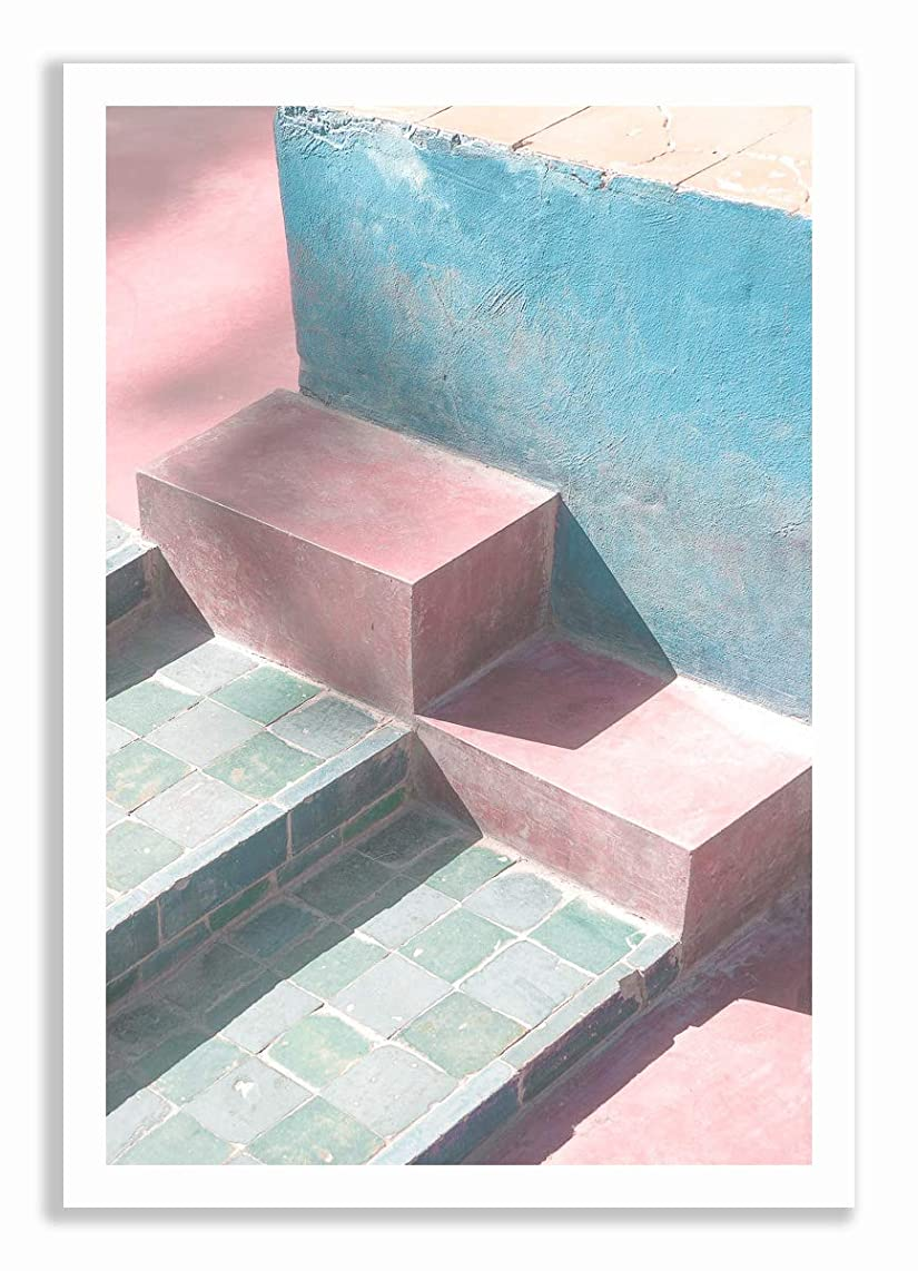 Pastel Staircase White Lacquer Wooden Frame with Mount, Multicolored, 70x100