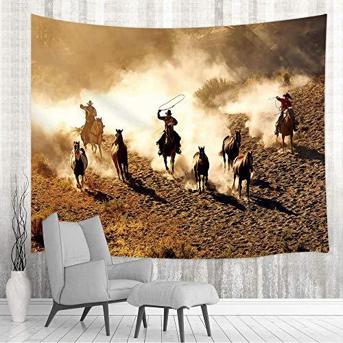 Tapestry Colgante de pared de vaquero occidental tradicional, vaquero de rodeo occidental americano con caballo de cría en la pared de la granja retro Tapestries 80X60inch