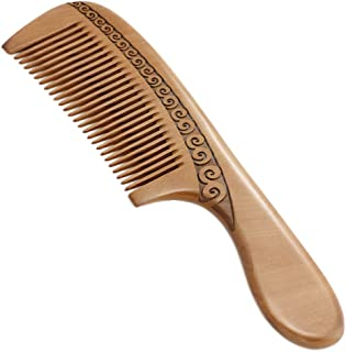 Hair Comb Wooden Wide Tooth Comb for Hair Detangling-Natural Handmade Green Sandalwood Comb-None-Tangled Hair & Anti-Static by Nature