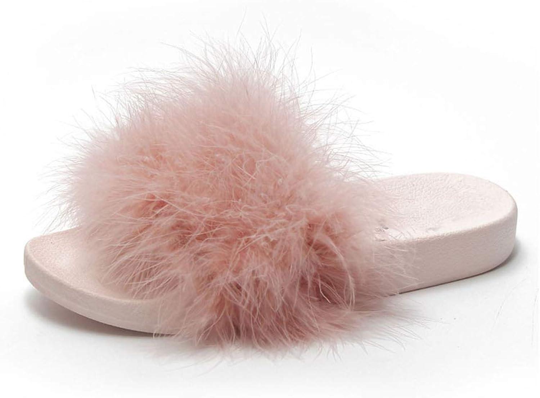 LU Beach Slippers Outside Fur Creepers Platform shoes Woman Slip On Slides Winter Soft Flats
