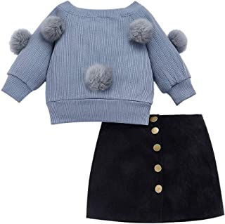 BOIZONTY Kids Baby Girls Outfits Floral Ruffle Off Shoulder Crop Tops + Bowknot Denim Shorts Skirt Set Toddler Summer Clothes (Gray, 18-24 Months)