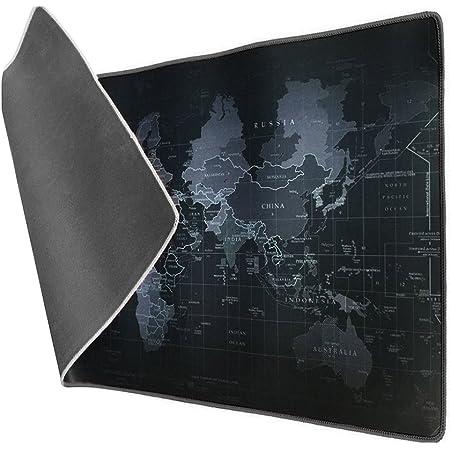 Vicloon Tappetino Mouse Gaming XXL per Mouse e PC, Mouse Pad Antiscivolo Fondo in Gomma con Bordi Cuciti 900x 400x3mm Mappa del Mondo