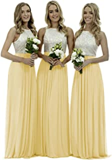 Lace Bridesmaid Dresses Long Chiffon a-line Evening Wedding Party Gown for Womens