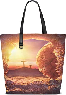 Women Crucifixion Sunrise Empty Tomb Shroud Resurrection Handle Satchel Handbags Shoulder Bag Tote Purse Messenger Bags