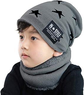 JFAN Cappello Beanie Bambino Inverno Sciarpa Bambini Cappelli Invernali Cappello Uomo Invernali in Maglia con Sciarpa 2 Pezzi