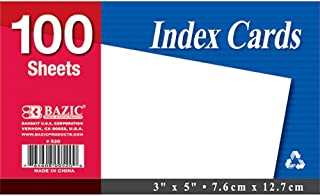 "$37 » BAZIC 100 Ct. 3"" X 5"" Unruled White Index Card (Case of 36)"