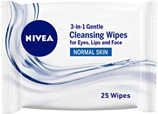 NIVEA Gentle 3-in-1 Cleansing Face Wipes, Normal Skin, 25 Wipes