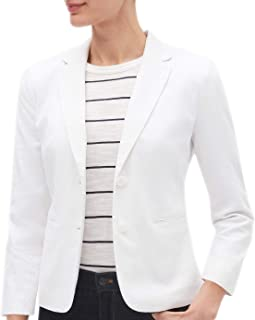Women's White Stretch Linen Shrunken Blazer