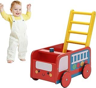 Labebe 子供ウォーカー プッシュ&プル手押し車おもちゃ ワゴントイ カタカタ 歩行器 - レッド消防車,ベビーウォーカー まぁるいほこうき,手押し台車 軽量,子ども ウォーカー,室内用 歩行器