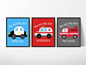 Emergency Vehicle Themed Art Prints Wall Decoration (Set of Three) Fire Truck Police Car Ambulance