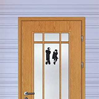 Mxl-Stickers Woman&Man Toilet Sign Mirror Wall Sticker 3D Removable Bathroom Mirror Stickers for Home Hotel Washroom Door Sign Mirror Sticker (Color : A Black)