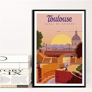 None Brand Decor A La Maison Mur De Berlin Peinture Sur Toile Toulouse Impression Affiche Celebre Voyage Villes Modulaire Photos Pour Chambre Toile En Rouleau 50x70cm Amazon Fr Cuisine Maison