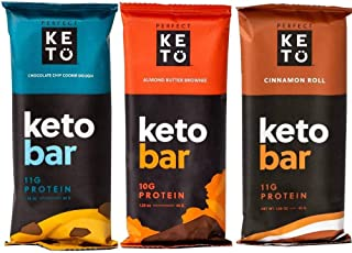 Perfect Keto Protein Snacks - Box of 6 Bars, Variety Pack - Low Carb Diet Friendly with Coconut Oil, Collagen, No Added Sugar - Sweet Treat - Individual Packs for Travel, Hiking