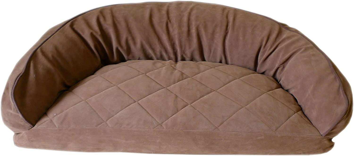 CPC Diamond Quilted Semi Circle Saddle Lounge for Dogs and Cats with Chocolate Piping, 35 x 23 x 12Inch