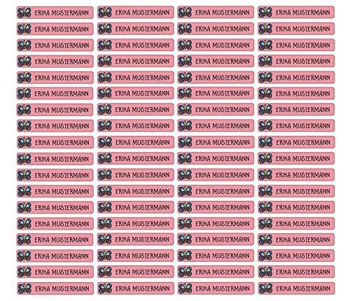 Stifteaufkleber für Bleistifte, Kugelschreiber & weitere Namensaufkleber - Aufkleber 49x7,5mm | 72 Stück Kinder & Erwachsene Schule & Kindergarten 37 Hintergründe in Auswahl (20 Schmetterling)