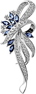 Merdia Created Crystal Brooch Fancy Vintage Style Flower Brooch Pin for Women, girls, ladies Blue color