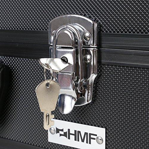 HMF 14501-02 Alu Fotokoffer, Waffenkoffer mit Rasterschaumstoff | 46 x 33 x 15 cm | Schwarz