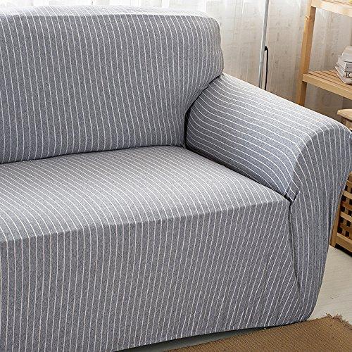 Hysenm, Copri divano, 1/2/3/4posti, rivestimento per divano, cotone e bambù, resistente, antiscivolo, materiale anti pelucchi, Tessuto, Grau+Weiß, 2 Sitzer 145-185cm