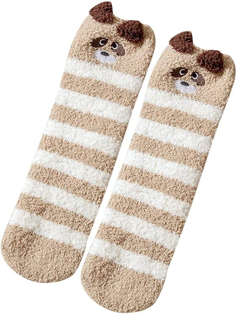 FIRERO Women Girl Home Bed Floor Socks Coral Fleece 3D Animal Coral Fleece Sleeping Socks Stockings