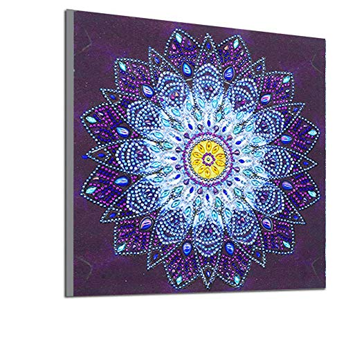 5D Diamant Malen nach Zahlen Kit DIY Kristall Strass Bilder Glitzersteine Flash Cube Diamant Kreuzstich Stickerei Kunst Craft Supplies für Home Wall Decor, Blue Mandala 30 x 30 cm