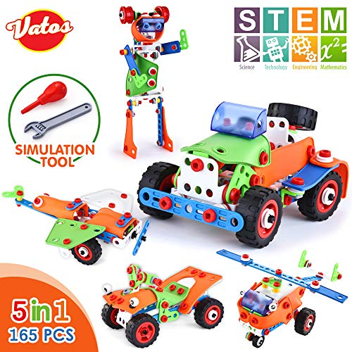 VATOS Building Toys STEM learning Toys Building Blocks Kit 165 Piece Creative Construction Engineering Plastic Building Sets for Boys & Girls Age 5 6 7 8 9 Year Old | Best Toy Gift for Kids Birthday
