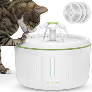 SHU UFANRO Pet Fountain Automatic Cat Water Fountain Dog Water Dispenser 70oz/2L Drinking Fountains Bowl with LED Light for Cat and Small Dogs