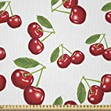 ABAKUHAUS Obst Stoff als Meterware, Kirschfrucht-Muster,