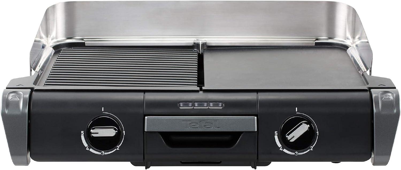 Tefal Family Flavor - Barbacoa eléctrica 2 en 1, barbacoa de mesa, parrilla plancha, termostato regulable, 2 superficies de cocina, 2400 W TG804D14