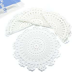 kilofly Handmade Crochet Round Cotton Lace Table Placemats Doilies Value Pack [Set of 4], Medallion, 9.8 x 9.6 inch, White