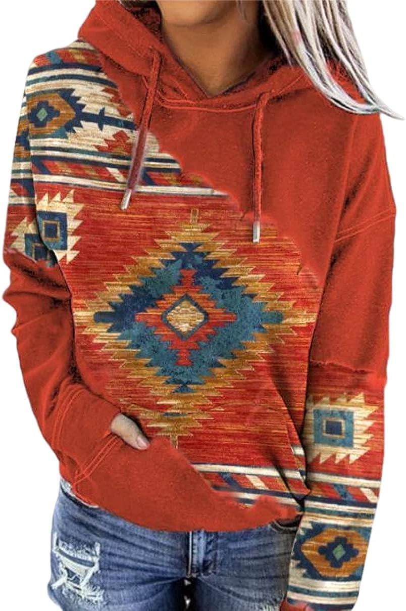 Melliflo Womens Western Aztec Ethnic Style Hoodies Geometric Print Long Sleeve Drawstring Sweatshirts Pullover