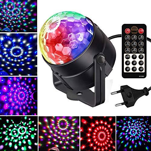 Discokugel Kinder Partylicht mit Sound aktiviert, iToncs 9 Modi Mini RGB Verbessert 5 Farben Rotierende Kristall Discolicht, Musik Controlled LED Discokugel Lichteffekte für Weihnachten, Partei Deko