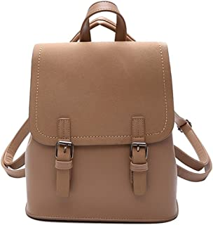 Pure Color Simple Backpack Travel School Shoulder Bag Daypack (Color : Khaki)