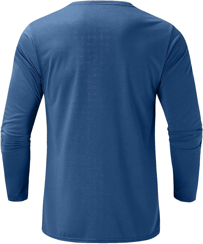 FORUU Mens Henley Shirt 2021,Fall Winter Casual Shirt Loose Multi-Button Shirt Solid Elegant Long Sleeve Tops Basic Tees