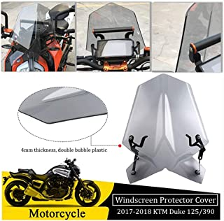 FATExpress Windshield for 2017-2018 KTM Duke SX RC 125 390 Motorcycle Plastic Windscreen Protector Cover with Mounting Bracket 17-18 Light Smoke