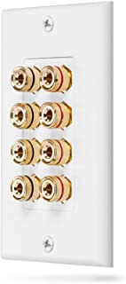 Fosmon (Quad Speaker) Home Theater Wall Plate - Premium Quality Gold Plated Copper Banana Binding Post Coupler Type Audio ...