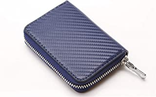 Men's Carbon Fiber Organ Card Card Sets Multi-Card Bank Card Package Microfiber Leather Business Card Package Fashion Trend (Color : Blue, Size : S)