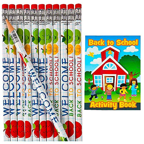 Welcome Back to School Pencils With Activity Books [24 Set] For First Day of School Gift, Teachers Classroom Supplies | 24 Pcs of Each | by 4E's Novelty