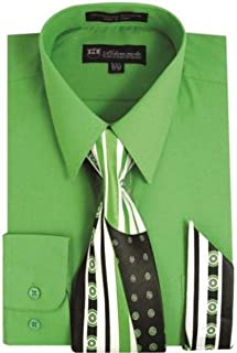 lime green shirt and tie