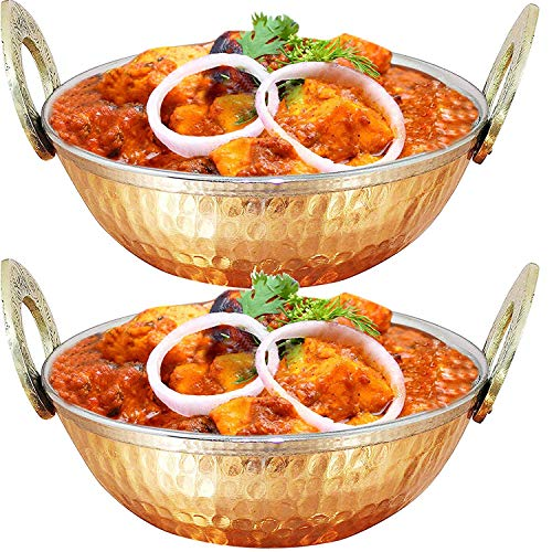 WhopperIndia Set of 2, Indian Copper Serveware Karahi Vegetable Dinner Bowl with Solid Brass Handle for Indian Food, Diameter- 15.24 Cm (6 Inches) - 13 Oz