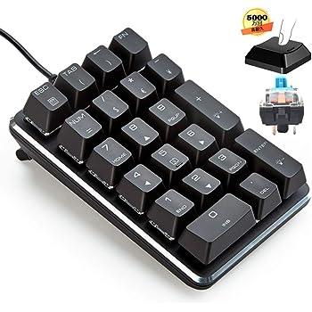 テンキーボード メカニカル式テンキーパッド 青軸 21キーテンキーパッド 5000万回高耐久 USB接続 ブラック Windows Mac 対応 (青軸)