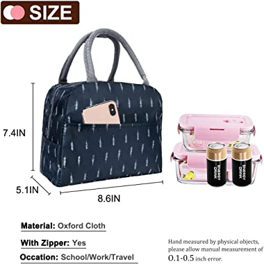 T Tersely Reusable Insulated Lunch Bag Cooler Tote Box with Front Pocket Zipper Closure for Woman Man Work Picnic or Travel(F