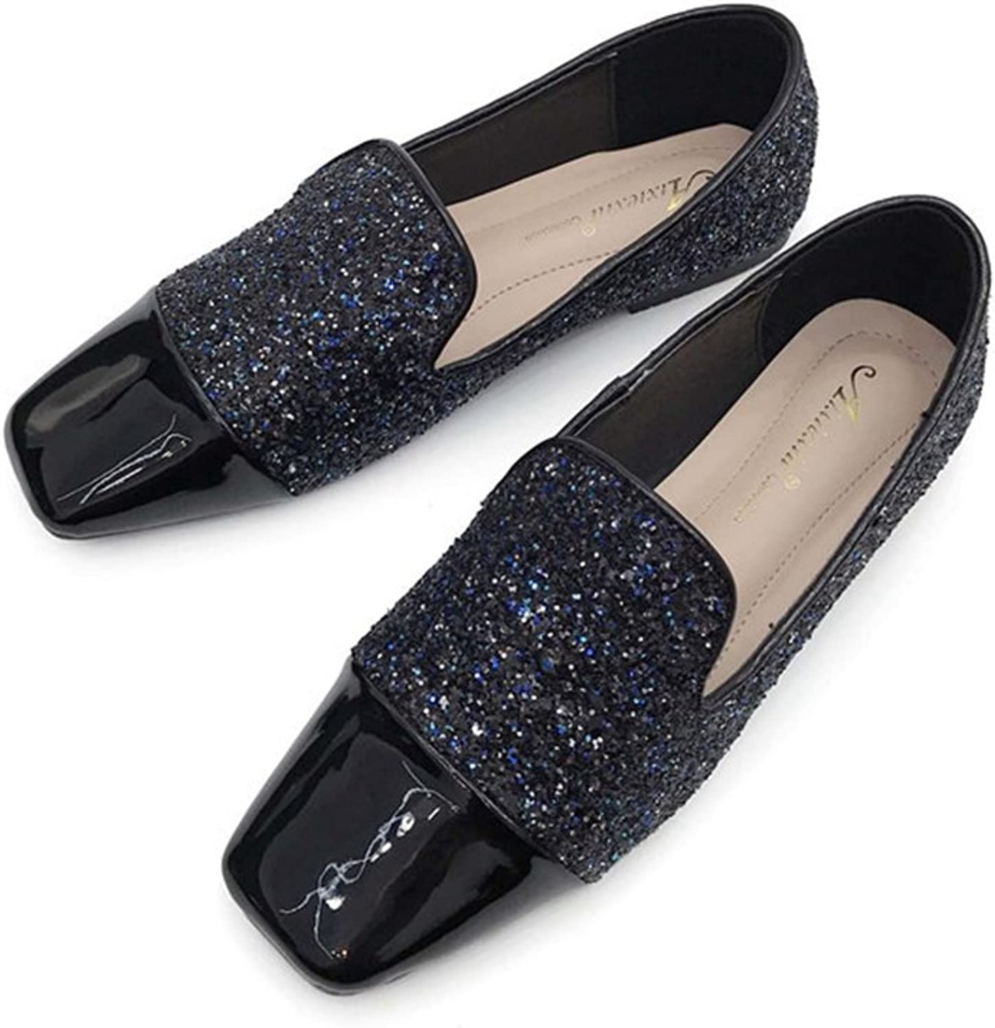 T-JULY Loafers shoes for Women - Sequins Lightweight Slip On Low-Heel Square Toe Casual Penny Flat