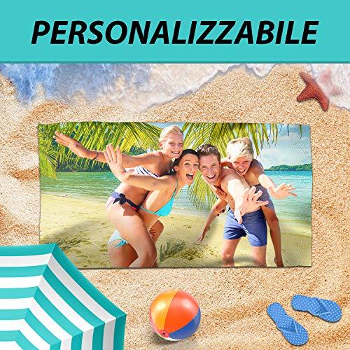 DEL DUCA PRINT - Telo Mare Personalizzabile Microfibra Asciugamano Spiaggia Piscina -...