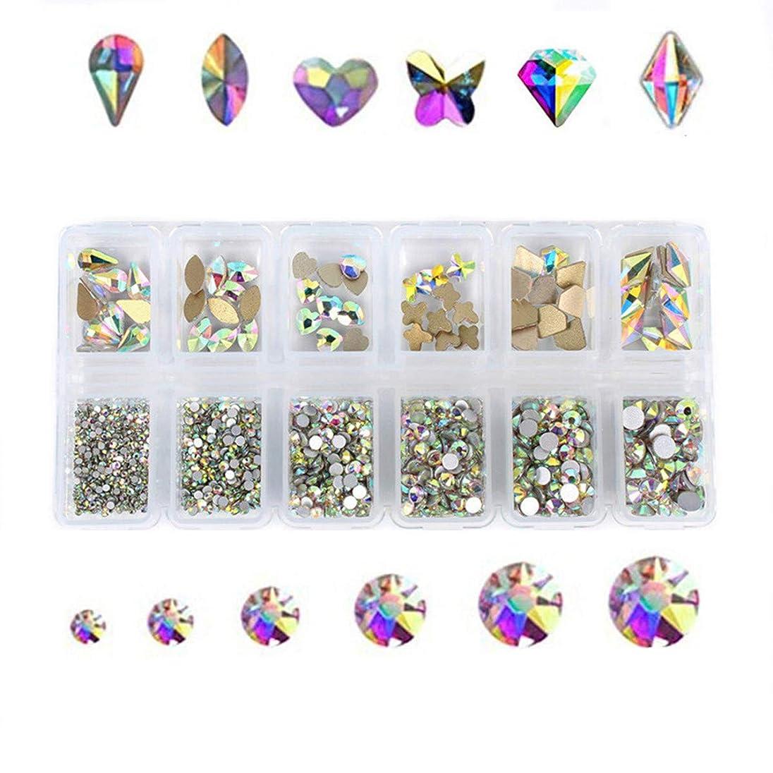 ガード電気技師立法Kingsie ネイル ラインストーン AB色 ガラス製 ファットバック クリスタル 3dネイルパーツ デコ素材 大粒 小粒 ミックスサイズ&形状 ケース入り