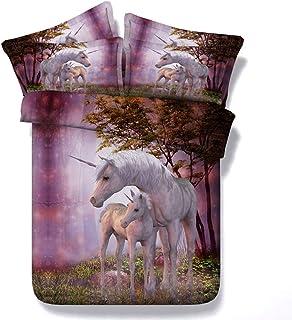 Linsaner Ropa de Cama Púrpura Bosque Unicornio Edredón Funda de edredón Funda de Almohada Dormitorio Juego