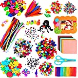 aovowog 1600+ Kit Manualidades Nios,Juegos de Manualidades,DIY Arts Crafts Set Materiales Incluye Limpiadores de Pipa Chenilla,Pompoms con Wiggle Eyes y Craft Sticks,Juego Creativo Regalo para Nios