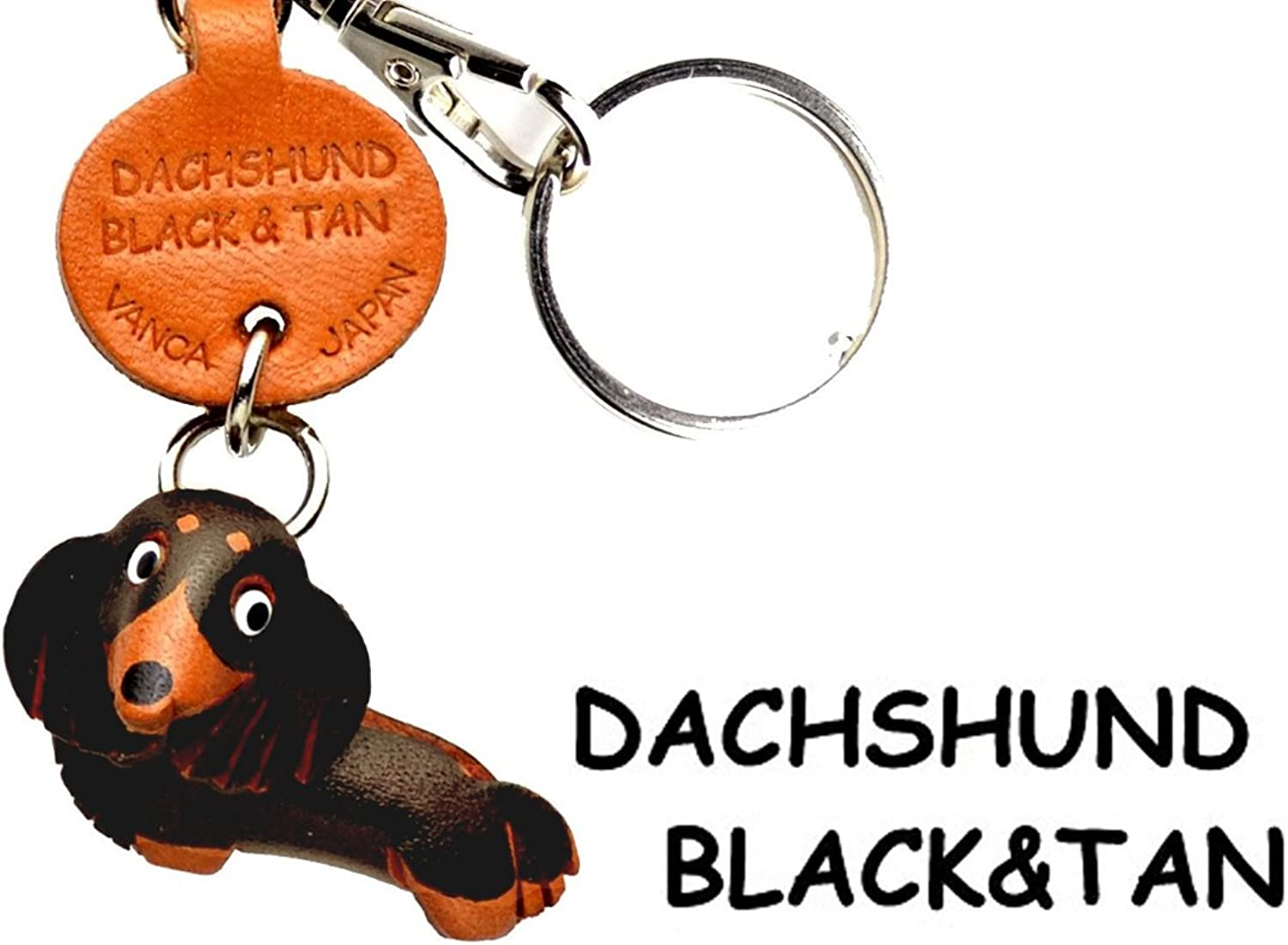 (Handmade of craftsman made in Japan) VANCA CRAFT this leather key chain Dachshund Black Tan anywhere demo doggy (japan import)