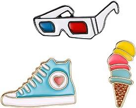 litymitzromq Cute Enamel Lapel Pin, 3Pcs/Set Cartoon Glasses Sneaker Enamel Badge Brooch Pin Clothes Jewelry Decor for Clothing Bags Backpacks Jackets Hat DIY